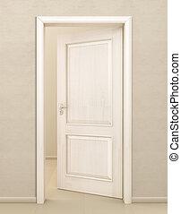 puerta, madera, blanco