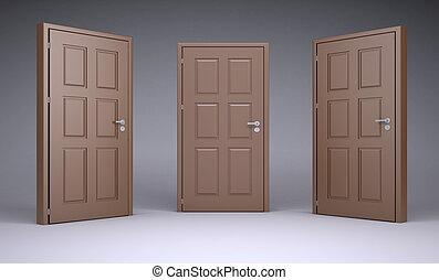 puerta marrón, doorhandle, tres, cerraduras, 3d