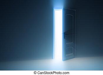 puerta, mitad, abierto