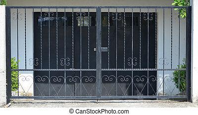 puerta, para, garaje