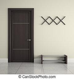 puerta, percha, shoes, vestíbulo, estante