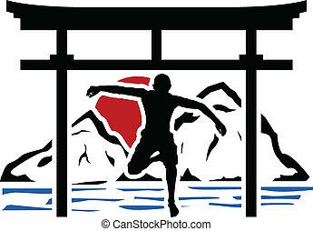 puerta, saltar, torii, hombre, sunse