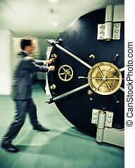 puerta segura, banquero, apertura