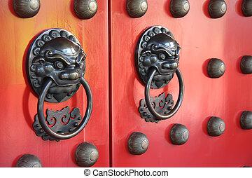 puerta, templo, chino