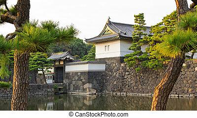 puerta, tokio, palacio, imperial