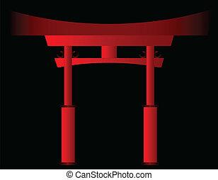 puerta, tori, japonés