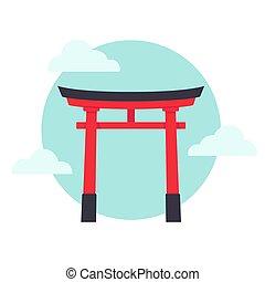 puerta, torii, japonés