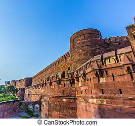 puerta, uttar pradesh, fortaleza, amar, agra, rojo, india, ...
