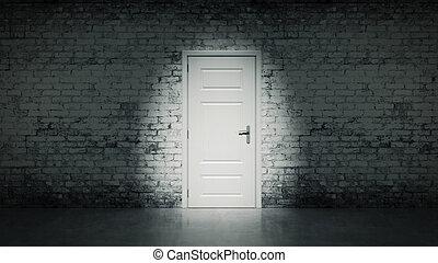 puerta, vendimia, bri, blanco, abierto, 3d