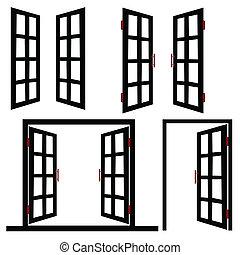puerta, ventana, negro, ilustración