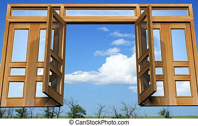 puertas, celestial, abierto, paraíso