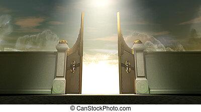 puertas, cielos, abierto