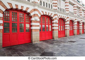puertas, ladrillo, firestation