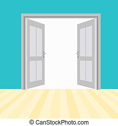 puertas, vector, abierto