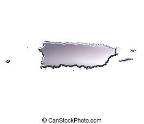 puerto, 3d, rico, argento, mappa