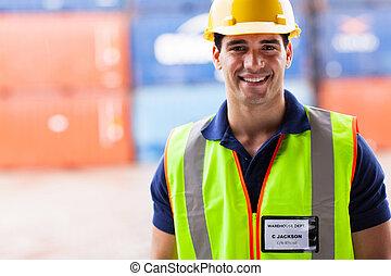 puerto, almacén, trabajador