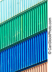 puerto, apilado, colorido, contenedores