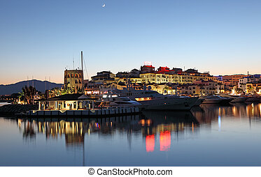 Puerto Banus at dusk, the marina of Marbella, Costa del Sol,...