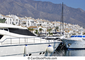 Puerto Banus - Boats moored in Puerto Banus. Malaga. Spain