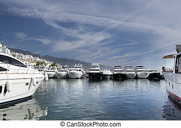 puerto banus - yachts in the exclusive harbour of puerto...