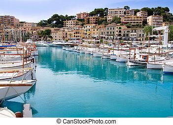 puerto, bateaux, lllaut, mallorca, port, de, soller