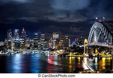 puerto, céntrico, edificios, sydney