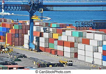 puerto, carga, grúa, y, contenedor