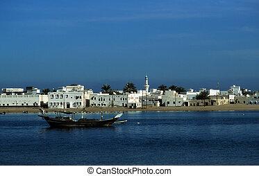 puerto, ciudad, viejo, sur, omán