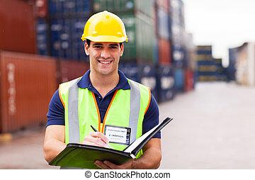 puerto, contenedor, depósito, trabajador