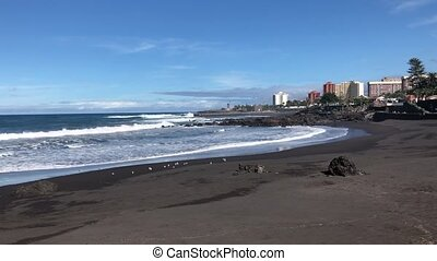 Puerto de la Cruz, Tenerife - beach with black sand, Playa...