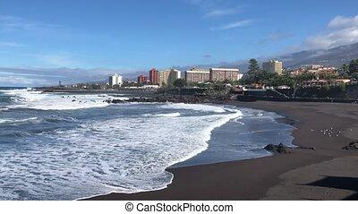 Puerto de la Cruz, Tenerife - beach with black sand, Playa...
