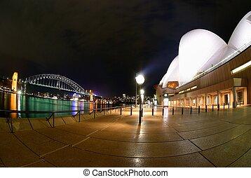 puerto de sydney, fisheye, noche
