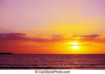 puerto, debajo, un, colorido, cielo, en, alghero