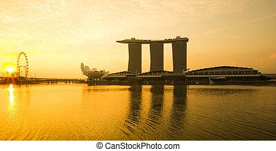 puerto deportivo, bahía, vista, con, sunrise., singapur