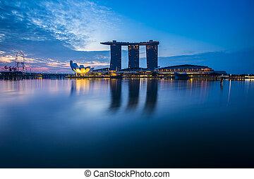 puerto deportivo, bahía, vista, con, twilight., singapur