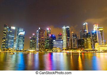 puerto deportivo, contorno, bahía, vista, singapur