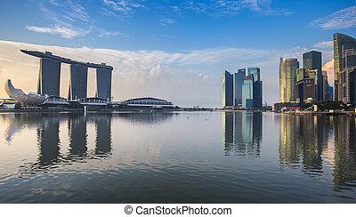 puerto deportivo, edificios, bahía, reflexión, singapur
