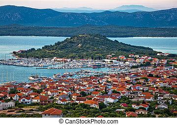 puerto deportivo, isla, murter, vista, bahía