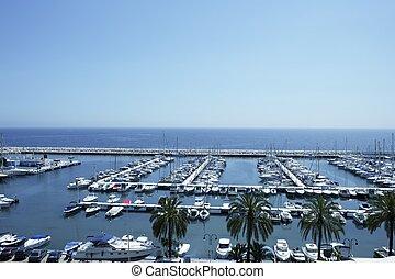puerto deportivo, vista marina, alicante, moraira, españa