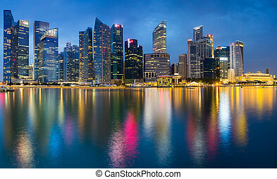 puerto deportivo, vista, singapur, bahía