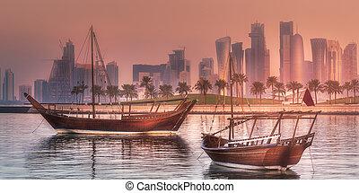 puerto, doha, barcos, árabe, tradicional, dhow