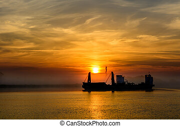 puerto, encima, cielo, salida, fondo., pesca, plano de...