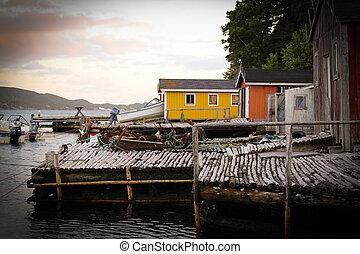 puerto, escénico, terranova, dildo, aldea, pesca, -, pequeño