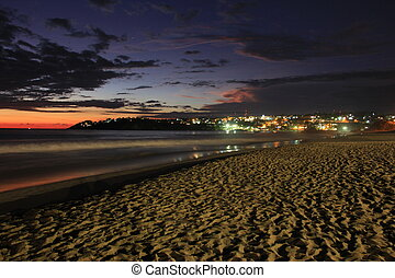 puerto, escondido, coucher soleil