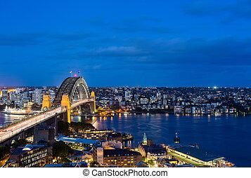 puerto, foto, panorámico, dramático, sydney, noche