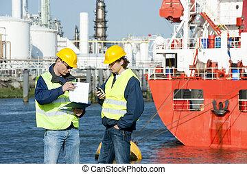 puerto, hablar, trabajadores