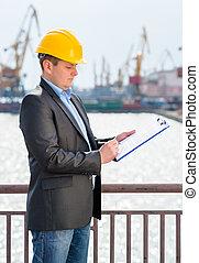 puerto, ingeniero, supervisión