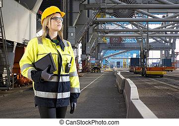 puerto, inspector, industrial