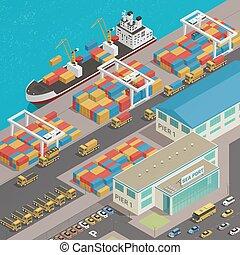puerto, isométrico, muelle, carga, barcaza