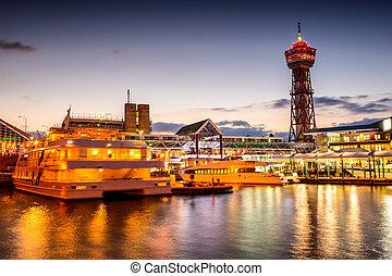 puerto, japón, contorno, fukuoka